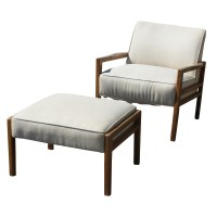 Vintage White Mid Century Lounge Chair and Ottoman | eBay