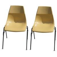 (2) Vintage Krueger Fiberglass Stacking Side Chairs ...