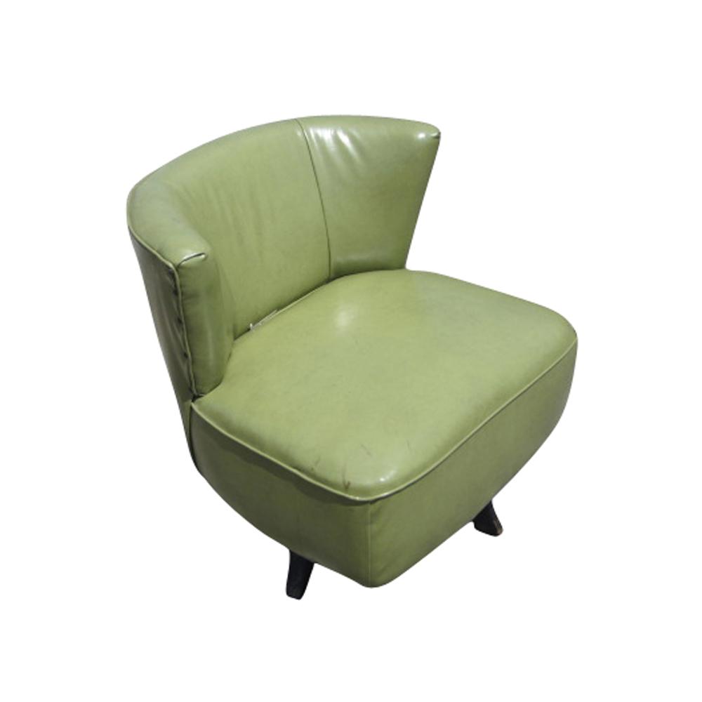 Mid Century Modern Green Swivel Slipper Chairs