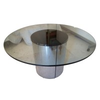 """54"""" Round Vintage Chrome and Glass Dining Table"""