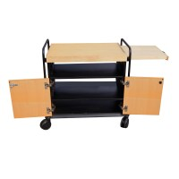 Kitchen Utility Birch Rolling Cart Cabinet with Butcher ...