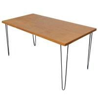 5ft Vintage Wood Hairpin Iron Legs Dining Table