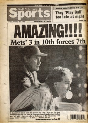 MetsPolice.com 1986 Newspapers World Series Game 6 Daily News Back