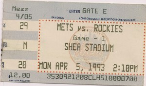 1993 Mets Opening Day stub