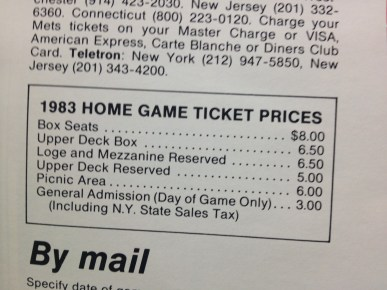 1983 Mets yearbook ticket prices