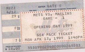 Opening Day 1999 Mets ticket stub