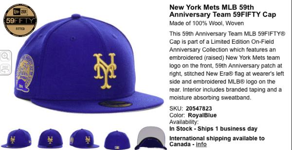 mets 59th anniversary cap