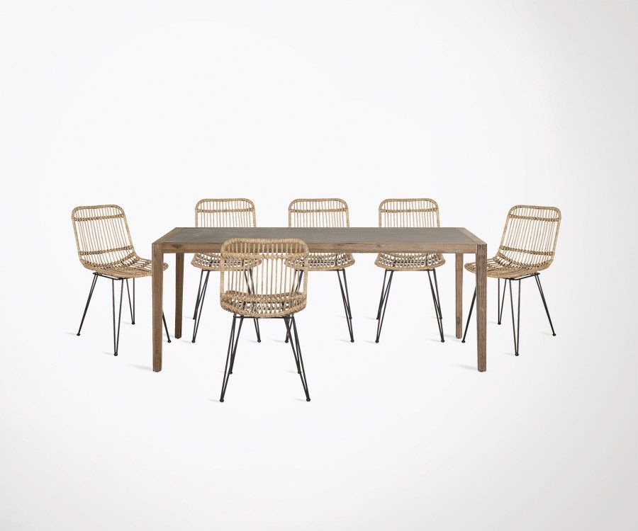 200cm Dining Table Cement Top And Wood Feet 6 Rattan