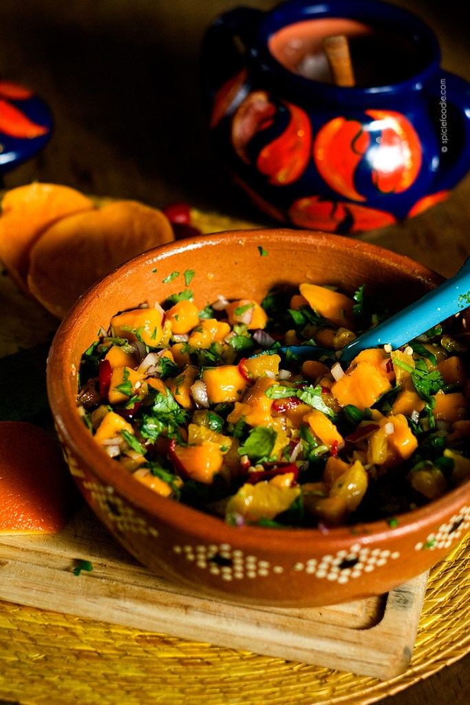 Mango, Orange, and Red Chile Salsa Recipe| #mexicanfood #mangos #salsa