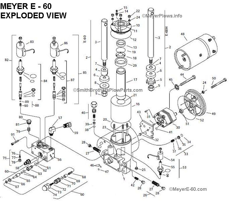 MeyerE-60 - Meyer E-60 Quik Lift Plow Pump Exploded View and