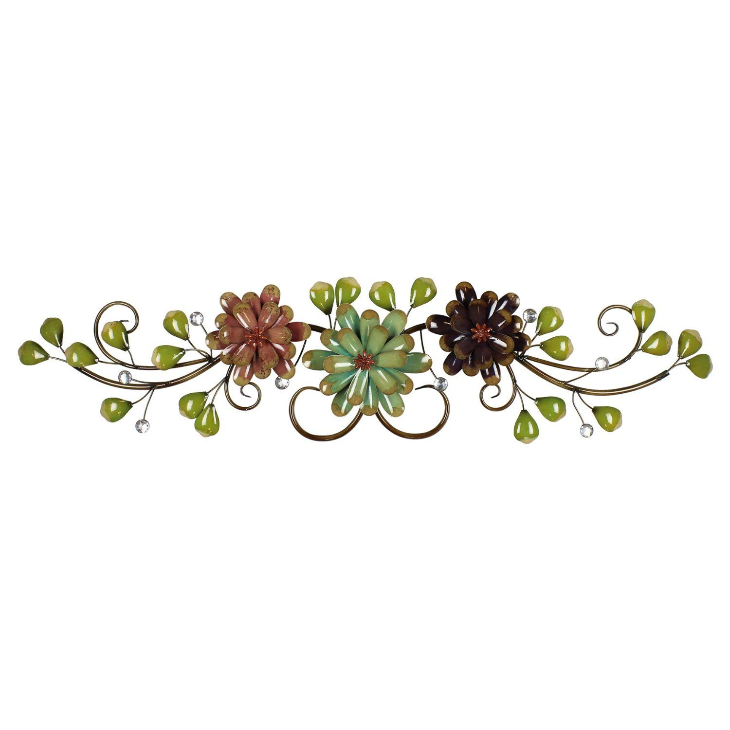 Flower and Leaf Spray Colourful Floral Metal Wall Art Display