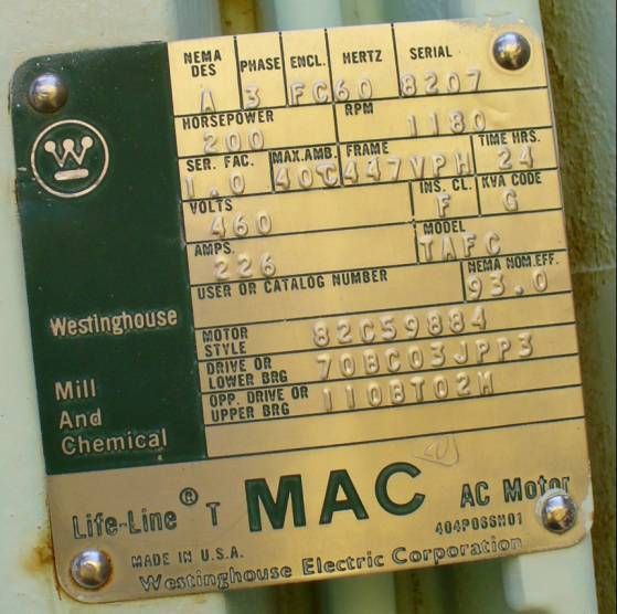 AC Induction Motor 200HP 1180RPM Westinghouse 447VPH Frame