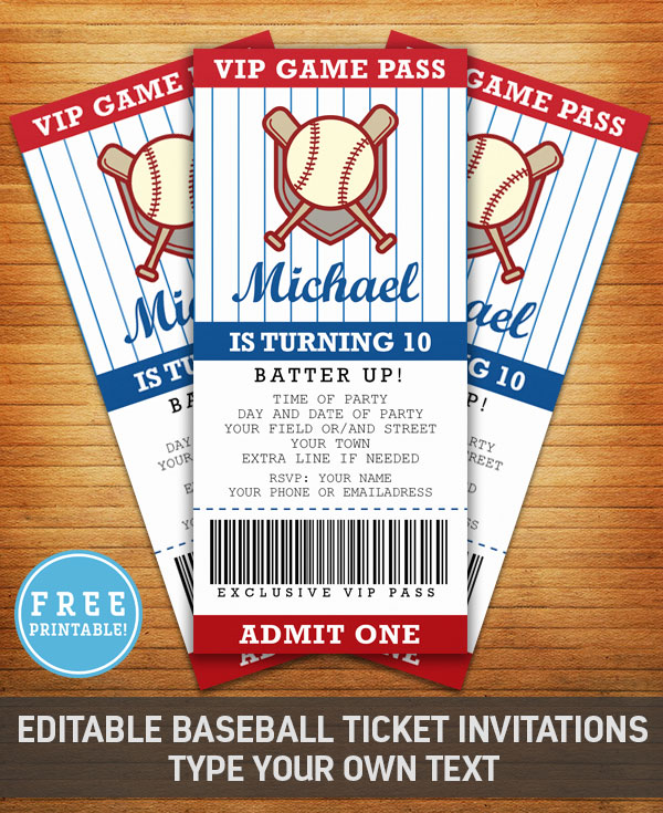 Baseball Birthday Party Invitation - Free Printable - M Gulin