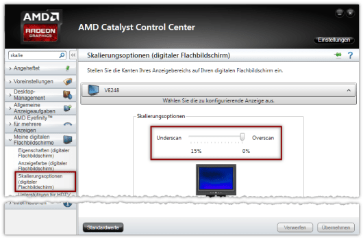 AMD CCC Skalierungsoptionen