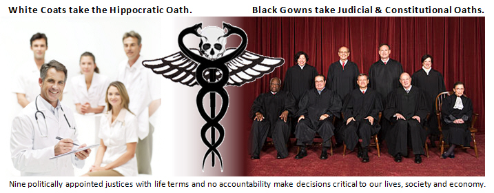The image contrasts Doctors in white coats who take the Hippocratic oath, are licensed, and can be sued, with the nine politically appointed Supreme Court justices in black gowns who take Judicial and Constitutional oaths but have lifetime terms with no accountability.