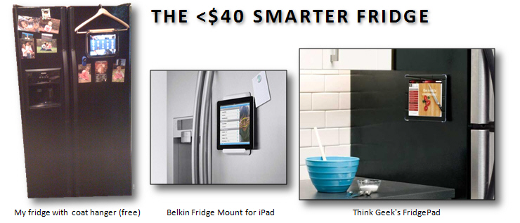 For less than $40, you can add Smart Fridge functions, and more, by mounting your tablet on the refrigerator.