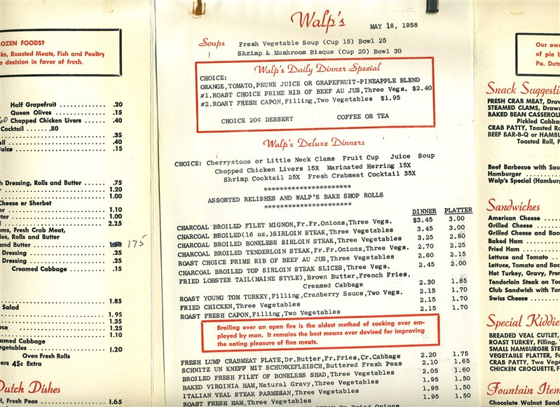 Walpu0027s Restaurant Menu from 1958 Allentown, PA - this place had - restaurant menu