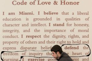 Miami's Love & Honor Code, which declares that freedom of inquiry should be defended at Miami.