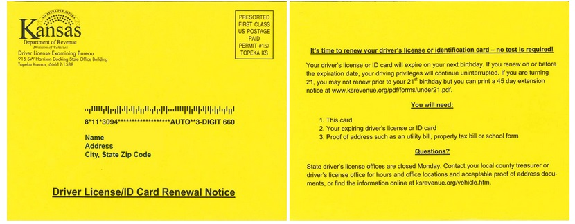 Kansas Motor Vehicle Registration Renewal Notice