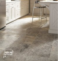 TRAVERTINE TILE FILLED HONED 18X18 SILVER  Miami Travertine