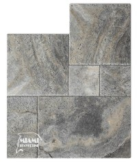 TRAVERTINE TILE FRENCH PATTERN SILVER  Miami Travertine