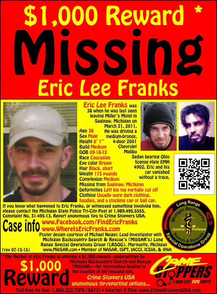 Eric Franks\u0027 Missing Person Web site - missing person posters