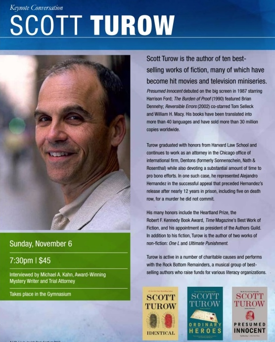 An Evening with Scott Turow\u2013November 6th at 730 PM