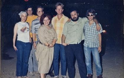 "Nuevo Laredo's ""Zona de Tolerencia"" 1987. L-R Marge, Nick, Roland, Margaret, Corky, Louis, Andy"