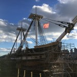 The U.S.S. Constitution, the oldest commissioned warship still afloat, is in dry dock, demasted as part of a major refit.