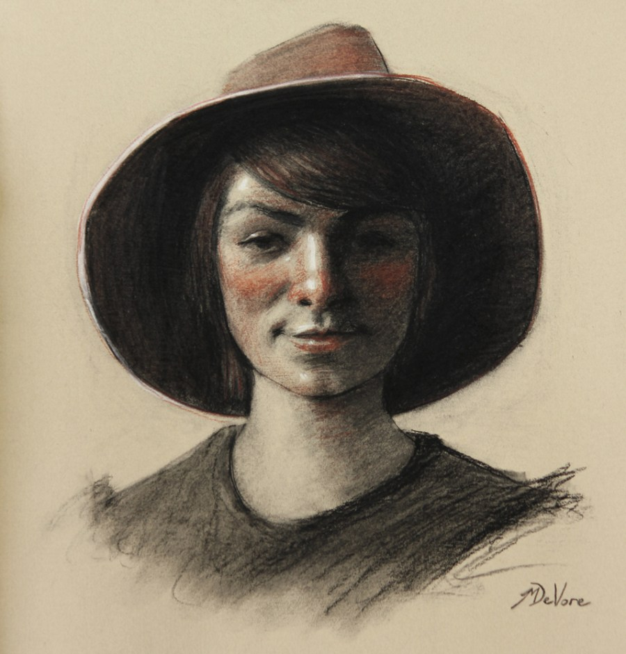 Girl Wearing Hat 2013 Charcoal Sanguine And Chalk On Paper 15 5 215 14 5in 39x37cm Michael