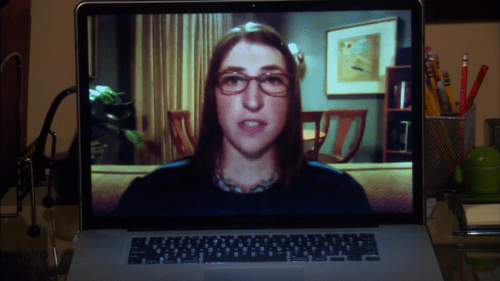 Big Bang Theory: Sheldon's POV while videoconferencing with Amy