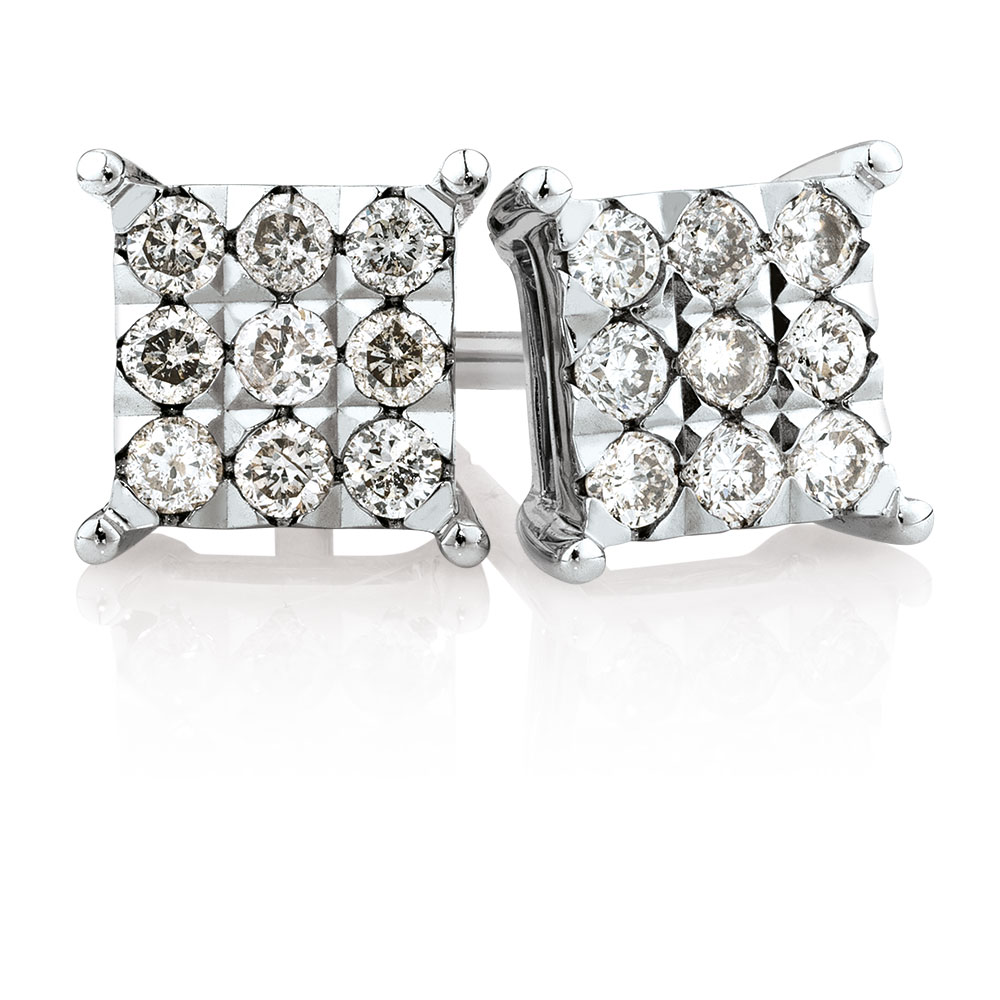 Cluster Stud Earrings with 1/4 Carat TW of Diamonds in