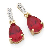 Drop Earrings with Created Ruby & Diamonds in 10kt Yellow ...