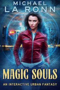 Attractive, assertive Caucasian woman with brown hair in a red leather jacket standing against a city background, with blue magic swirling around her