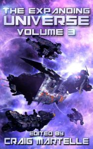 The Expanding Universe Book Cover. Several spaceships flying in battle in a purple background