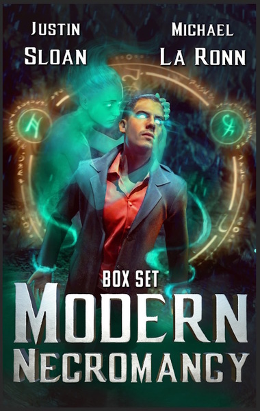 Modern Necromancy Box Set cover. Attractive male in the netherworld with a spirit caressing him.