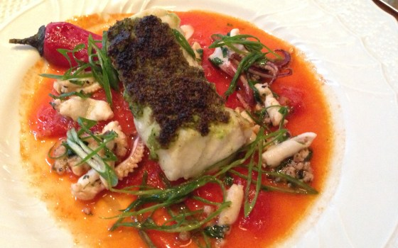 monkfish, pepper marinara