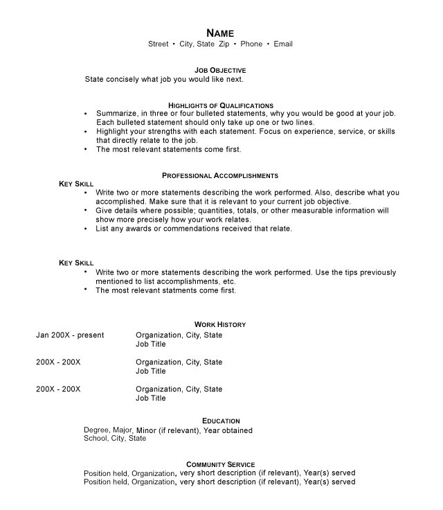 Types of Resumes Resume Format Tips - resume job titles