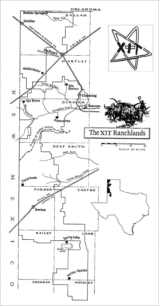 XIT Ranch Map The largest ranch in Texas Approximately 30 miles - month to month lease