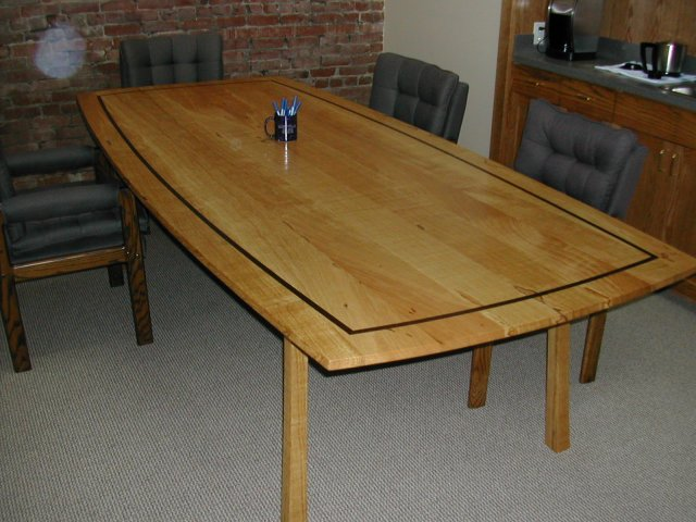 White Oak table with wenge accents and natural figure