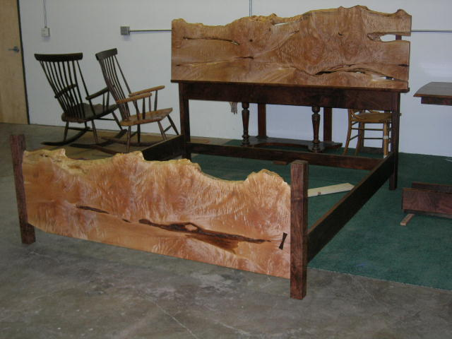 King bed cluster burl and walnut