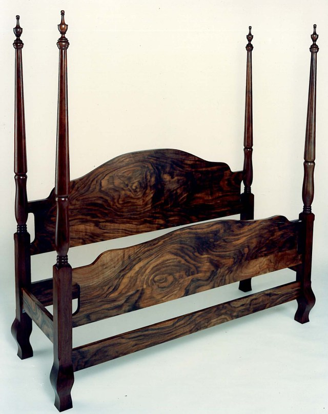 Queen Anne style bed, western walnut.
