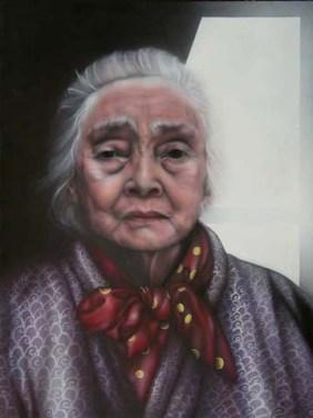 "My Grandmother Noe Miki. Acrylic on Canvass 30"" x 40"" 1984"
