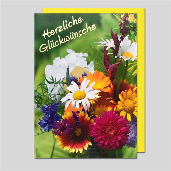 Umschlagkarte Herzliche Glückwünsche 12 x 17 cm Hochformat