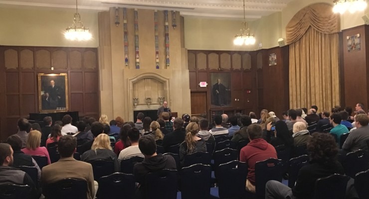 David Horowitz speaking to students and community members at U of M.