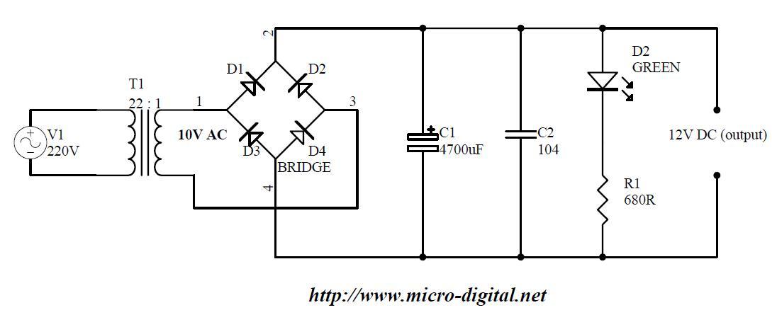 12v power supply circuit diagram full wave bridge rectifier circuit
