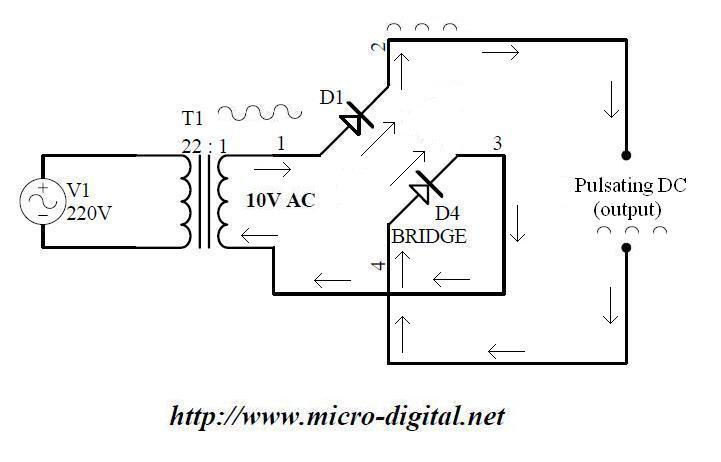 full wave bridge rectifier supply micro digital