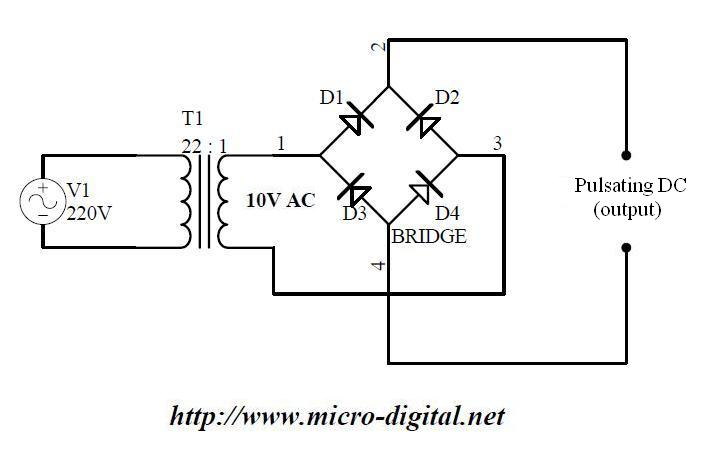 full wave bridge rectifier circuit ac to dc