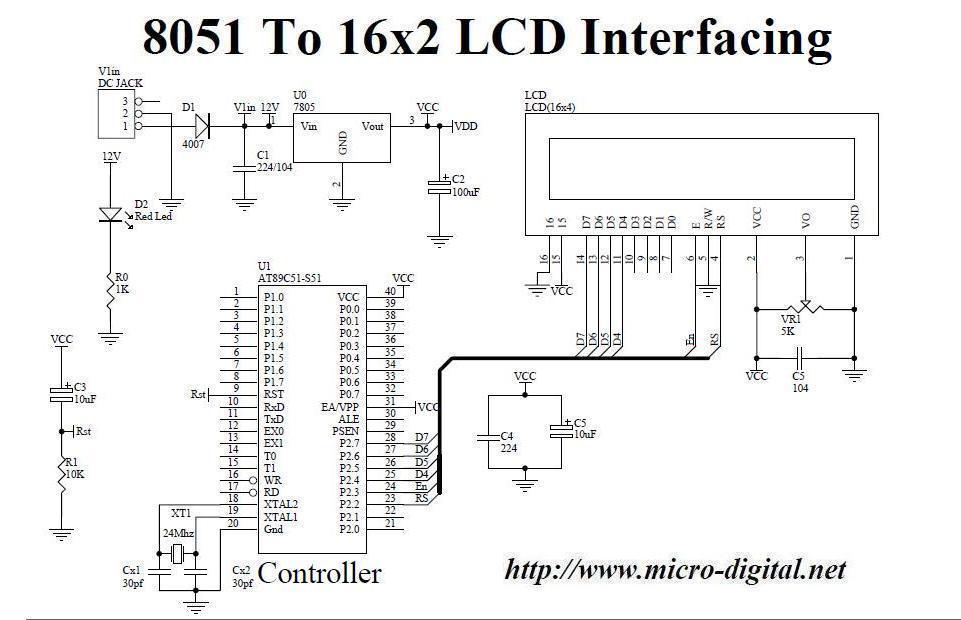 8051 To 16x2 LCD Interfacing Micro Digital