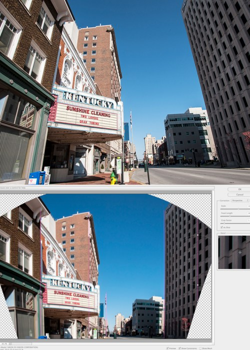 The Adaptive Wide Angle filter is used to straighten images while using the photos metadata and visual cues.